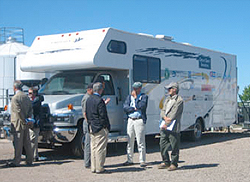 This recreational vehicle has been converted to a mobile laboratory that scientists can use to follow a freighter around the Great Lakes to test the effectiveness of its ballast water treatment system.